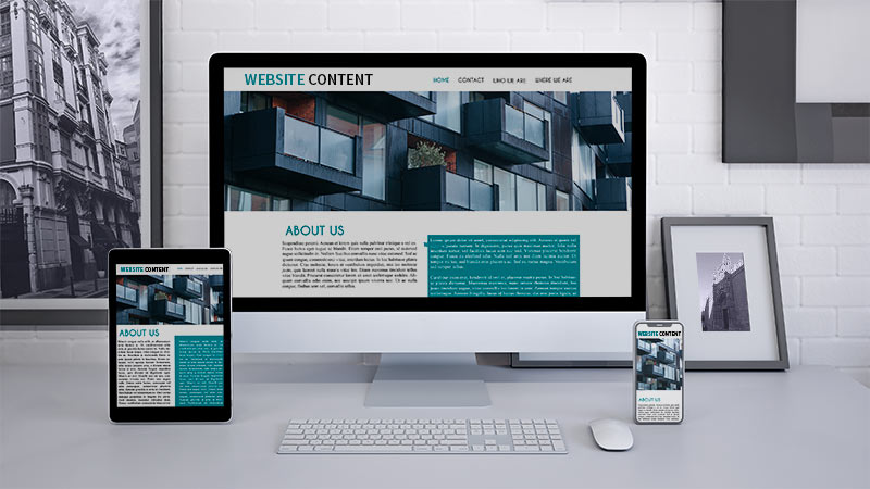 Website Content layouts on different computer and electronic screens